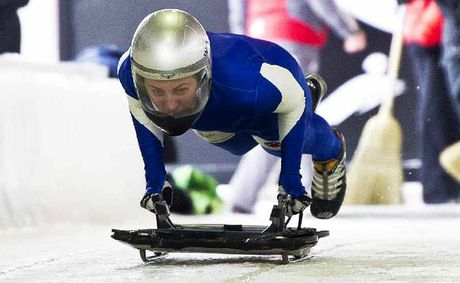 Jessica Golding racing in the skeleton event.