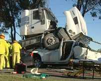 UNBELIEVABLE: The truck involved in the crash 5km south of Rockhampton.