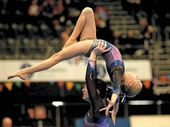 ACROBATIC: Abby Dendle, 10, and Matilda Wayte, 16, finished second at state titles.