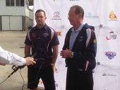 New CQ Capras signing former South Sydney Rabbitohs player Jamie Simpson with CQ Capras CEO Denis Keeffe at Browne Park. Photo: contributed.