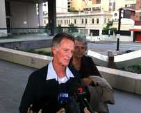 Lorraine Wilson's brother, Eric Wilson, addresses the media outside Brisbane Coroner's Court.