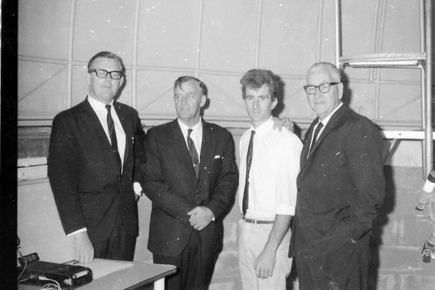 Paul Neville, Queensland Premier Joh Bjelke-Petersen, Bundaberg Astronomical Society president Mac Jonsen and 4BU radio announcer and Bundaberg Astronomical Society vice-president Bert Lister at the observatory in 1969.