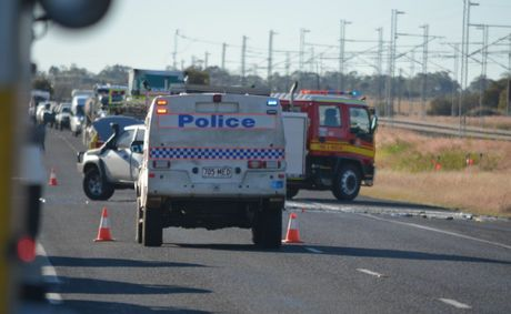 The scene of a fatal crash on the Capricorn Highway, 9kms east of Blackwater.