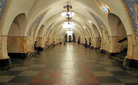 Part of the 600m of secret inter- connecting tunnels 65m under Moscow.
