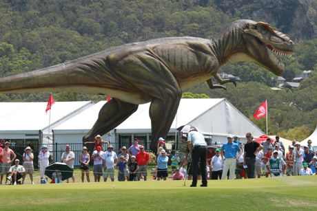 Final day of the Australian PGA Championship at Palmer Resort, Coolum: Jeff the dinosaur. Photo: Brett Wortman / Sunshine Coast Daily