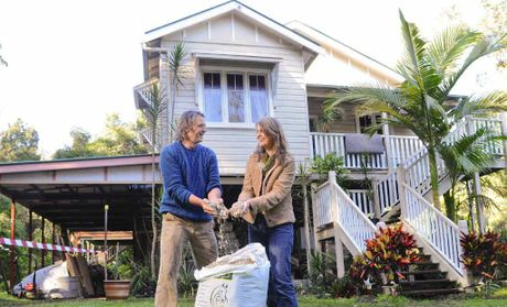 CHILL, IT'S ALL GOOD: Peter Cuming and Eshana Bragg outside their Maclean home, which will soon be extended with walls built with hemp, sand and lime.