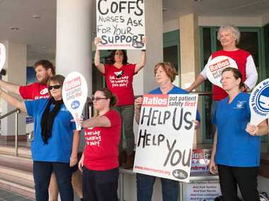 MOVE TO STRIKE: Coffs Harbour Nurses Association members put the State Government on notice.