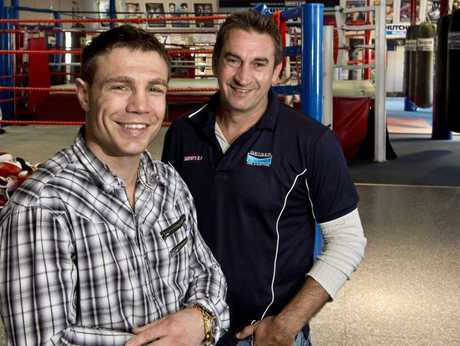 Mick Katsidis and Brendon Smith in Toowoomba today.