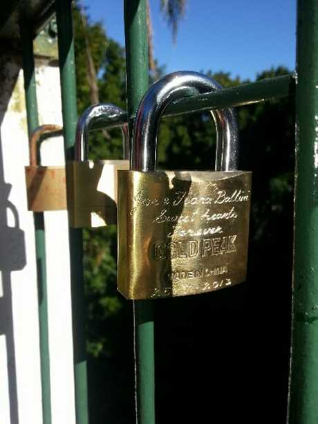 Fiona Ballini and her partner Joe have contributed a love padlock to the fence at Picnic Point.