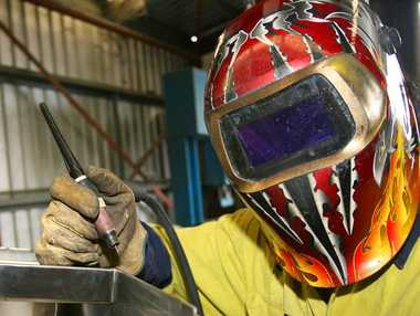 Sheet metal apprentice Quang Nguyen at Adnought Sheet metal Fabrications. Photo: Chris Ison / The Morning Bulletin