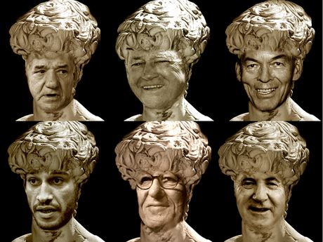 Possible candidates to be immortalised in the form of a statue include (clockwise from top left) John McDonald, Clive Berghofer, Peter Taylor, Johnathan Thurston, Geoffrey Rush and Paul Antonio.