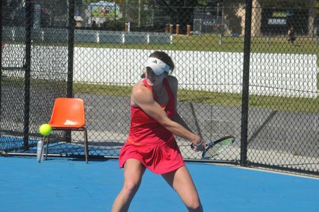 Azra Hadzic playing in the 2013 Grafton Platinum AMT women's final against Shannon Stamenovic. Hadzic won 7-6 6-2.