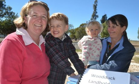 Rebecca Beissel with son Beau Beissel and daughter Maggie Beissel and Jenny York are concerned Powerlinks' transmission project will affect their health and safety.