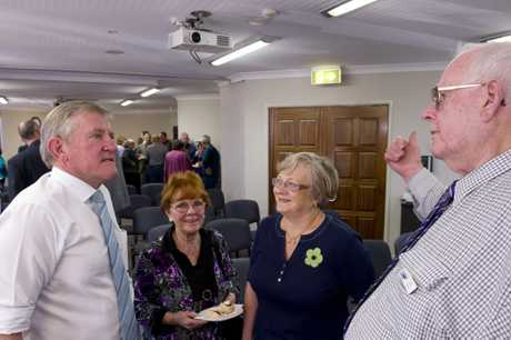 Incumbent Federal Member for Groom Ian Macfarlane talks with supporters (from left) Glenis Batten, Pam Brogan and Jim Taylor at his campaign launch.