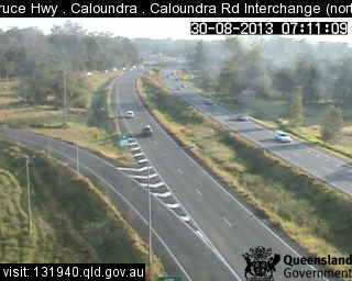 Bruce Hwy has reopened to traffic in both directions. This shot is from the Caloudnra Rd interchange. It's facing north.