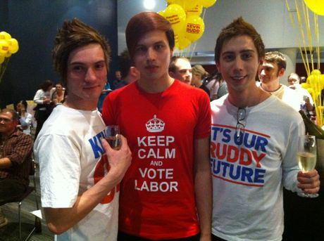 Diehard Kevin Rudd supporters prepare for the arrival of their leader at the Brisbane Cricket Ground.