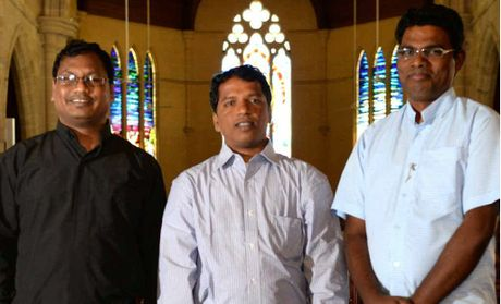 From left Father John Tete, Father Rajasekhar Kodavatikanti and Father Thadayoose Lazar look forward to their work in the region