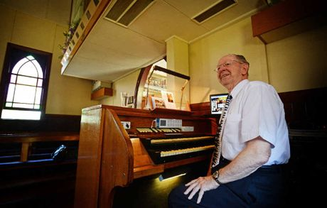 PEDAL POWER: One of Sydney's leading organists Dave Parsons playing at the Bexhill Church. Dave and his wife have been making the trip from Sydney to Bexhill to perform for 22 years.