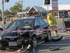 Alleged carjacker crashes into a traffic light on the corner of Nicklin Way and Kawana Island Boulevard, Warana.