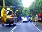 Truck roll over accident on Bangalow Road Photo Contributed Westpac Life Saver Rescue Helicopter