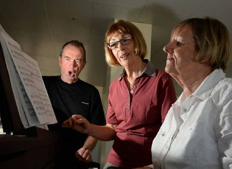 ON SONG: Gray Sutcliffe, Joan Wright and Susan Langget are warming up ahead of Sunday's Four Choirs Festival.