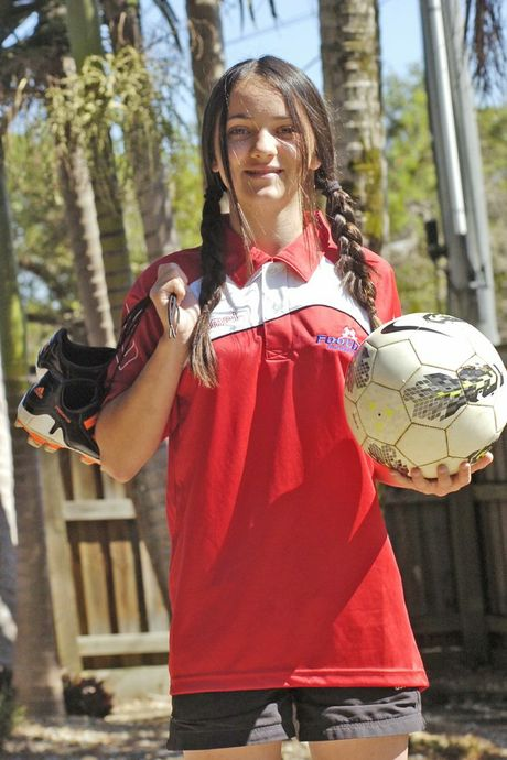 Lismore's Cara Brice cannot wait to represent her zone at the Northern New South Wales Football Championships for Girls. Photo Stuart Turner / The Northern Star