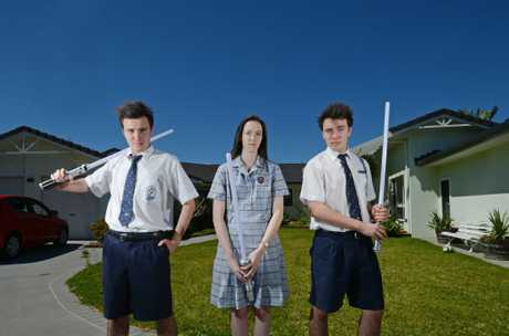 THRICE AS MAD. Triplets L-R Chris, Sophie and Josh Davis of Lennox Head have recently finished year 12. Photo Patrick Gorbunovs / The Northern Star