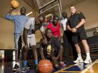 Looking forward to the start of the Midnight Basketball program for at-risk youth are Agok Deng, Peter Deng, Diana Akol, Chol Herjok, logistics manager David Amol and manager David Nugent.