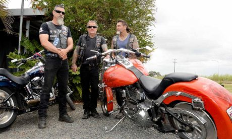 Rebel Motorcycle Club members Bill Holgate (left), Mackay chapter president Don Trevethan and Dean Anderson outside their clubhouse at Racecourse.