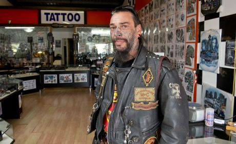 "Tony "" Bones"" Lowe, president of Life and Death Motorcycle Club in Toowoomba."