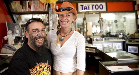 "Tony "" Bones"" Lowe, president of Life and Death Motorcycle Club with Katrinna Rose. Photo Nev Madsen / The Chronicle"