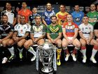 Members of the 14 nations pose for photographers at the Rugby League World Cup Launch at Old Trafford.