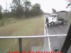 THE driver featured in a video showing a close call on the Bruce Highway as another truck crashed into his rig has shared his story.