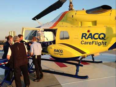 The RACQ CareFlight Rescue Helicopter have airlifted a Coast toddler to Brisbane after she nearly drowned in a pool.