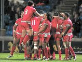 THE Tongans celebrated in style at the final whistle after beating Italy 16-0 in their Rugby League World Cup clash in Halifax.