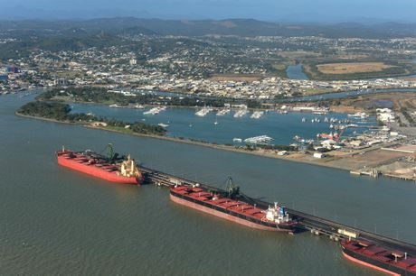 An aerial view of the Gladstone Harbour.