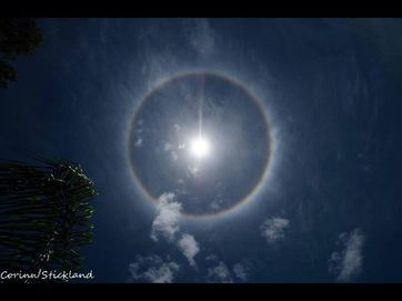 All eyes turned to the Whitsunday skies on Sunday when a halo formed around the sun. BOM explained the phenomenon as ice crystals acting like water droplets, forming a rainbow around the sun.