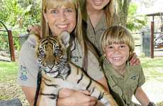 MISSING STEVE: Terri Irwin with Bindi and Robert with one of the tiger cubs.