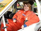 Morning Bulletin sports reporter Melanie Plane about to take a ride in the passenger seat of a fender bender during a heat race at the Rockhampton Speedway on Saturday night. Photo: Chris Ison / The Morning Bulletin