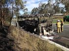 <strong>UPDATE: </strong>Fire has destroyed a Stonestreet's Coaches bus near Helidon on the Warrego Hwy.