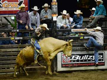 Action from the first section of the bull ride at The Great Western on Saturday night.