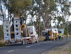Emergency services investigate the scene of a crash which killed Toowoomba truck driver Athol Jacobsen.