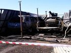 The aftermath of the fire that destroyed a garage and two vehicles in Wilsonton, Toowoomba.