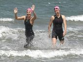 SISTERS Claire Finter and Jayne Moyle endured rough seas, stingers and sunburn to complete their marathon charity swim from Great Keppel to Yeppoon on Sunday.