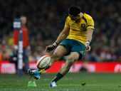Australia's Christian Leali''ifano scores a conversion against Wales during their autumn international rugby match at Millennium Stadium in Cardiff, Wales, Saturday, Nov. 30, 2013.
