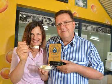 Sara and Markus Bucher from Maleny Cheese have won a gold medal at the Australian Grand Dairy Awards with their Apple and Cinnamon yoghurt. Photo: Warren Lynam / Sunshine Coast Daily
