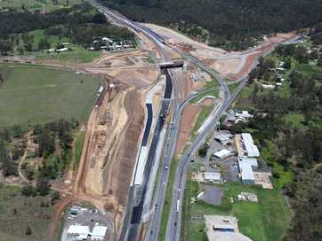 Aerial view of the construction at the Blacksoil interchange on the Warrego Highway. Image taken on December 4, 2013. Photos: Pterodactyl Helicopters