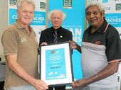 AWARD: (From left) Ballina Coastcare's Lee Andresen, Ballina Mayor David Wright and Uncle Doug Anderson.