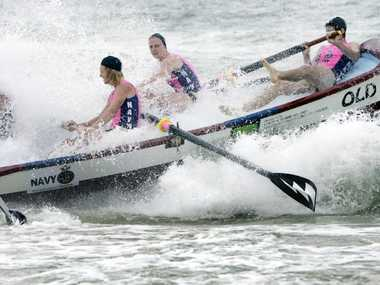 The Bribie boys go out in the Navy Boat series round at Bribie Surf Club. Photo Vicki Wood / Caboolture News