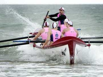 GALE-force winds, strong tides and rain forced an early finish of round two of the Navy Australian surf rowers league series  at Bribie on Saturday.